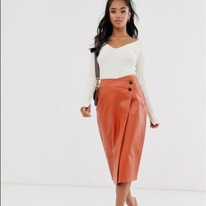 Missguided petite wrap faux leather midi skirt